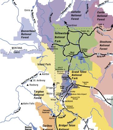 Jackson Hole Area Maps - Wyoming on a us map