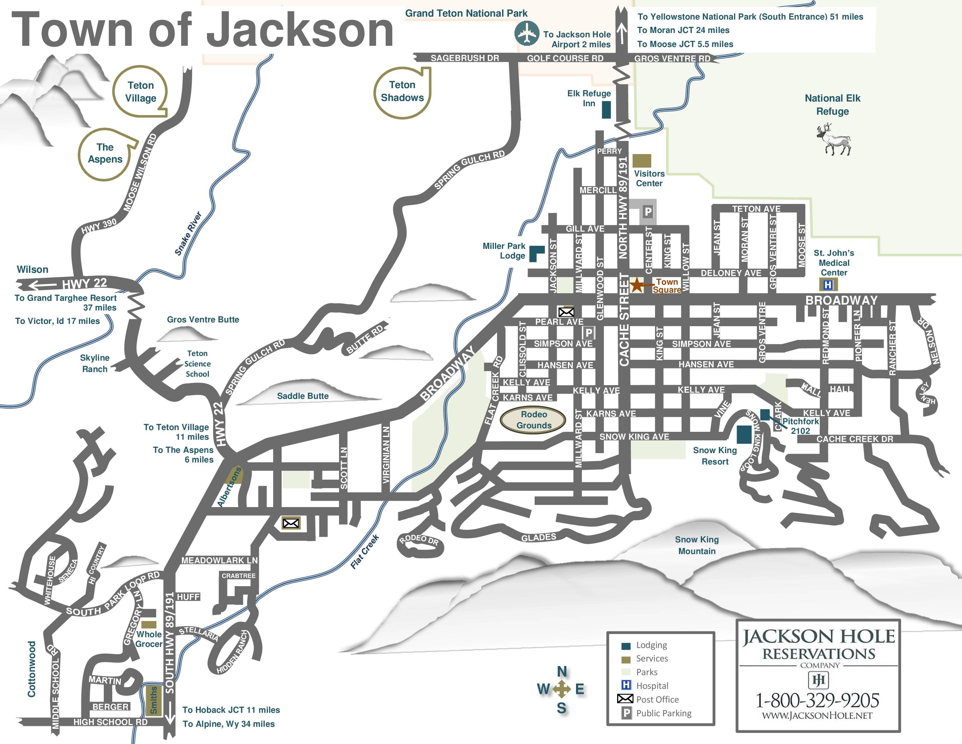 Jackson Hole Area Maps - Road map wyoming usa
